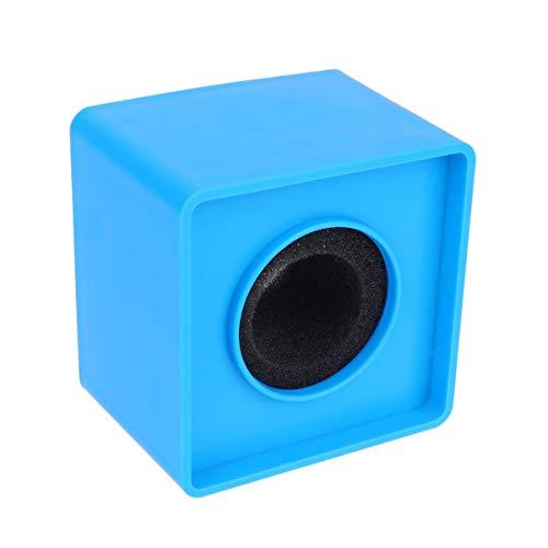 Vosarea micrófono de entrevista logotipo de micrófono estación de bandera protector de micrófono de forma cuadrada para reporteros profesionales de micrófono de entrevista (azul)