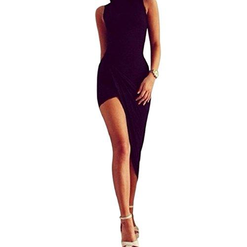 LONUPAZZ Maxi Robe De Soiree Cocktail Longue Ete Moulante Femme Sexy Asymétrique Irrégulière Robe (Asian L, Noir)