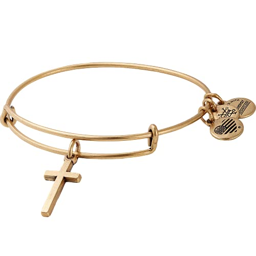 Alex and Ani Divine Guides Expandable Bangle Bracelet for Women, Cross Charm, Rafaelian Gold Finish, 2 to 3.5 in