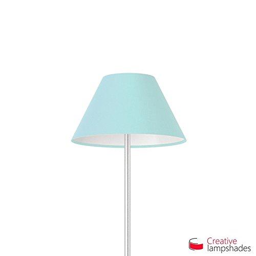 Chinese Lampenschirm Hellblau Leinwand - Durchmesser 25-11cm - H. 13cm, E27 Für Standleuchten, Nein