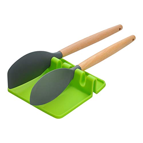 Songway Silicone Kitchen Utensils Rest,Spoon rest,Giant Spoon Spatula Ladle Fork Holder,Non Slip Heat Resistant Cooking Tools Utensils Rack Flatware Rest Kitchen Utensils Mat (S, Green)