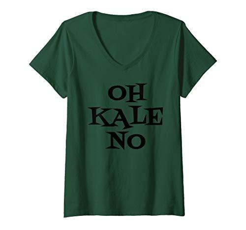 Womens Oh Kale No Funny Vegan Vegetarian Plant Based Saying Shirt V-Neck T-Shirt