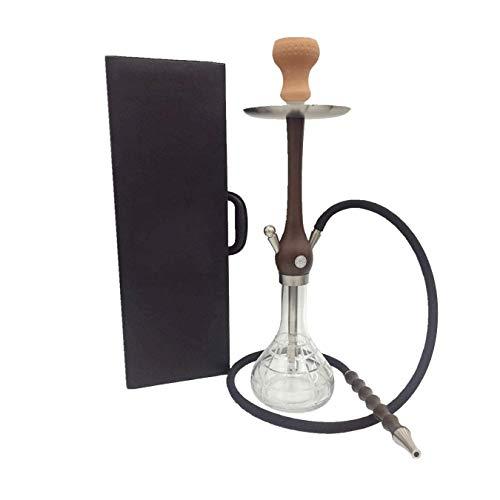シーシャ 水パイプ アラビア語水ギセル レザーケース シーシャバー喫煙ポットチメートルを備えたポータブルバー ミディアムサイズウッドポールのコンプリートセット