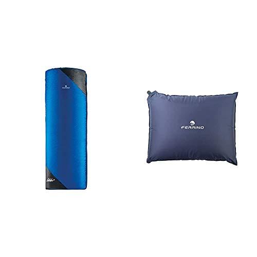 Ferrino Colibri, Sacco a Pelo Uomo, Blu Scuro, 700 g & Cuscino Gonfiabile Goffrato Unisex Blu, 40x30x7 cm
