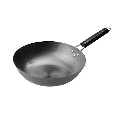 NXYJD Wok en Acier au Carbone, Non-bâton poignée en Bois à Fond Plat, Convient for Cuisinière à gaz Cuisinière à Induction