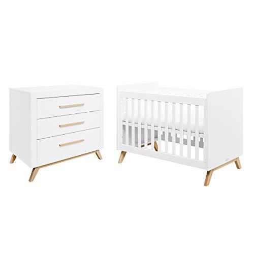 Lit bébé 60x120 et commode à langer Fenna - Blanc et bois naturel