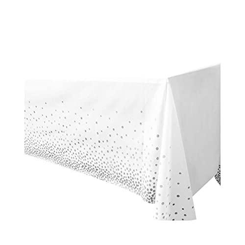 ETWJ 1 mantel de plástico desechable de alta calidad para mesa de 54 x 108 pulgadas, impermeable, para uso al aire libre, fiesta o toque moderno a cualquier fiesta-1 plata1