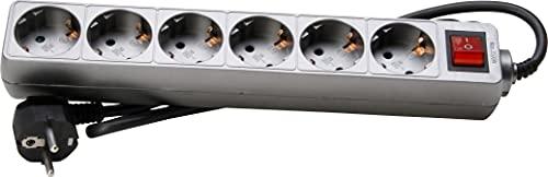 Kopp 120943005 - Regleta con 6 enchufes (Interruptor Iluminado), Color Titanio