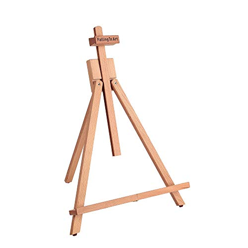 Falling in Art Beechwood 25'' Tabletop Easel Display Stand for Painting- Holding Canvas Up to 22 1/2 Inches High, Artist A-Frame Tripod with Rubber Feet, Portable Photo and Sign Holder