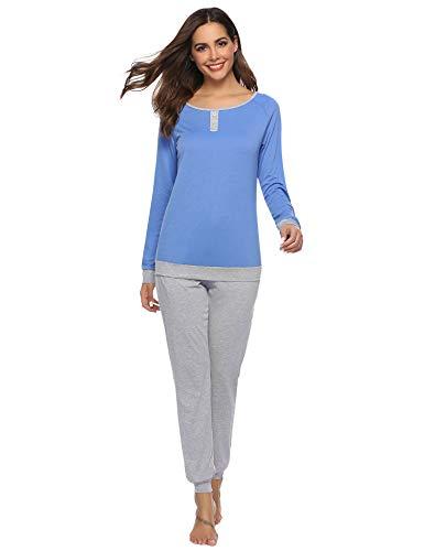 Abollria Ensemble de Pyjama Femmes Coton Vêtement de Nuit à Pois Vêtement d'Intérieur Femme, Doux à Porter et Confortable, Bleu, XL