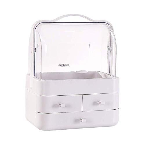 Organisateur maquillage clair moderne cosmétiques Boîtes de rangement d'affichage avec poignée et Tiroirs conception étanche anti-poussière Idéal for salle de bains JCXOZ Organiseurs et boîtes à bijou