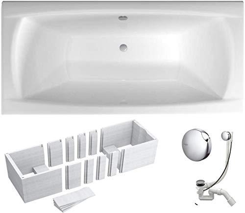 VBChome Badewanne 160x70 cm Acryl SET 3in1 Wannenträger Siphon Wanne Rechteck Weiß Design Modern Styroporträger Ablaufgarnitur in Chrom Viega Simplex für 2 Person (160x70)