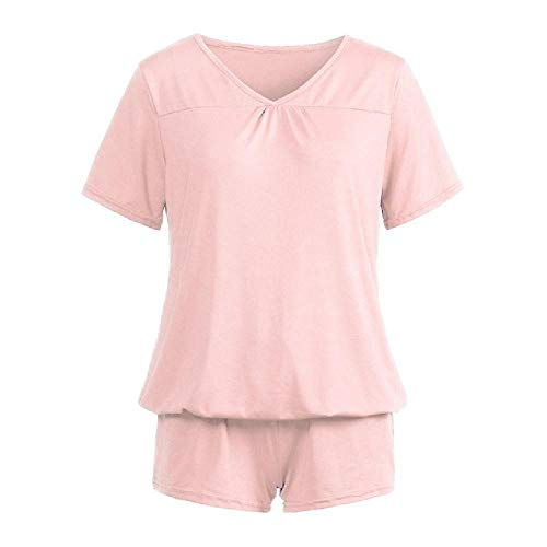 Women's Pajamas Sets Sleepwear Solid Shorts Sleeve V-Neck Woman Pajamas Breathable Sleepwear Pijama Set Pink