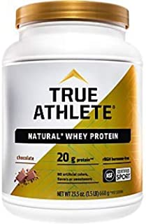 True Athlete Natural Whey Protein Chocolate, 20g of Protein per Serving Probiotics for Digestive Health, Hormone Free NSF ...
