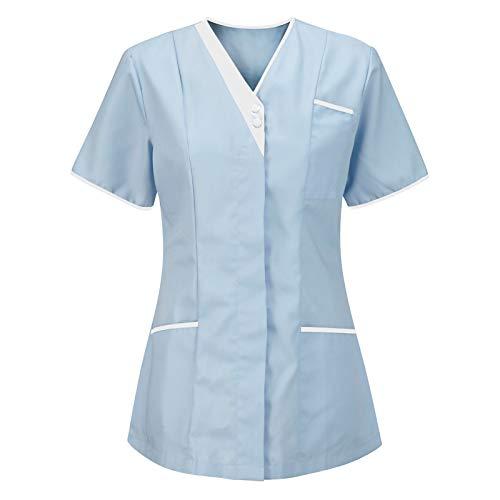 Samore Schlupfhemd Bluse Kurzarm V-Neck Mischgewebe Kasack Damen Pflege Uniform Berufsbekleidung Kleidung