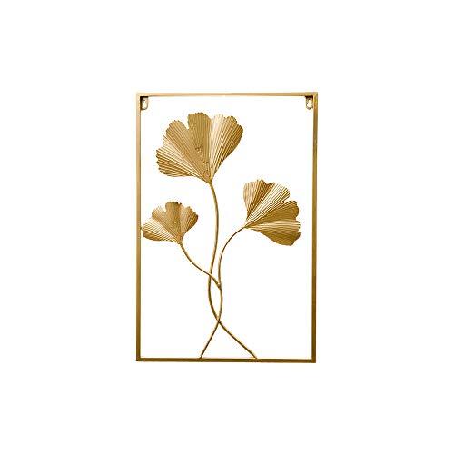Acyoung Wandbild aus Metall Blättern 40x60 cm Golden Wanddeko (Ginkgo)