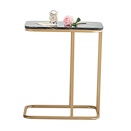 Coffee Tables, Iron Leisure Table Sofa Coffee Table Notebook Table Marble Worktop Modern Furniture Side Table,Black