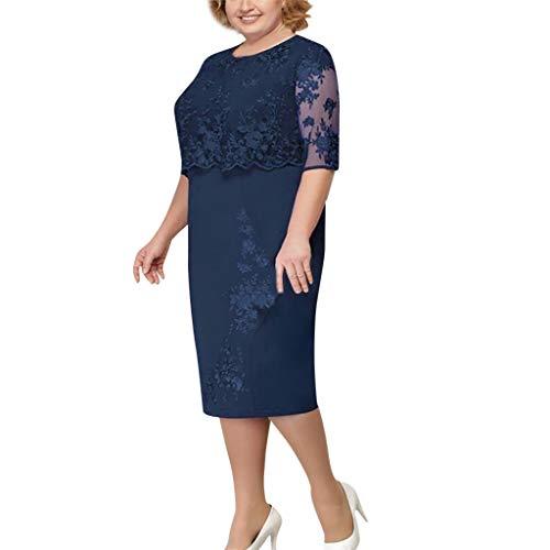 LOPILY Spitzenkleid Damen Große Größen Elegant Abendkleid für Mollige mit Blumendruck Zweilagig Cocktailkleider Kleid für Brautmutter Übergröße Edel Midikleid Plus Size Frauenkleid (Marineblau, XXL)