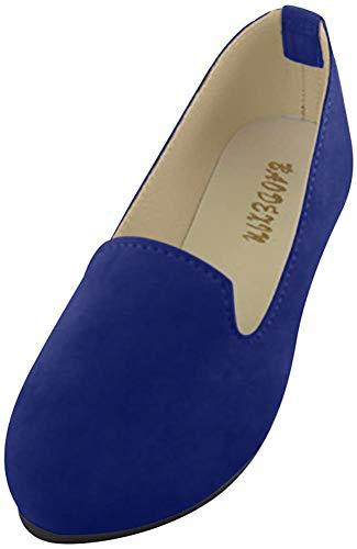 Frauen Damen Slip On Flache Schuhe Sandalen Casual Ballerina Schuhe Schwangere Frau Schuhe,Saphirblau,EU 38