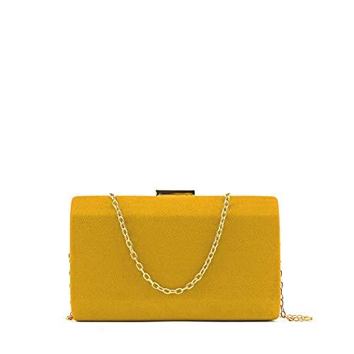 MODELISA - Bolso De Fiesta Clutche Mano Con Cadena Hombro Mujer (Amarillo)