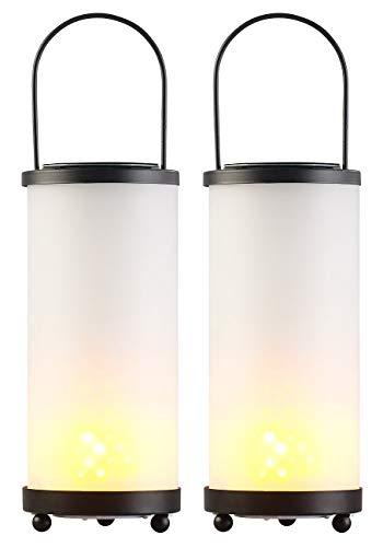 Lunartec Solar Fackel-Lampen: 2er-Set Solar-LED-Laternen Glas/Metall mit Fackel-Effekt, 96 LEDs (Hängelaternen Solar)