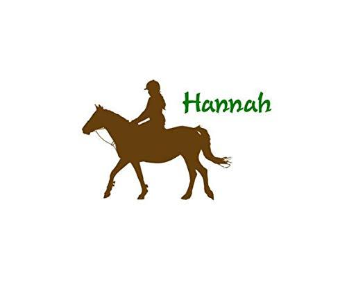 Vinilo adhesivo para pared con diseño de caballo para niñas y adolescentes, decoración de dormitorio occidental, poni y caballo, personalizable, nombre de bebé, guardería, niños, habitación de regalo