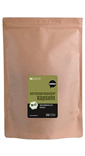Wohltuer Bio Gerstengras Kapseln | mit Bio Gerstengras aus Deutschland | 100% Vegan & Frei von Zusätzen | 200 Stück à 400mg (hochdosiert)