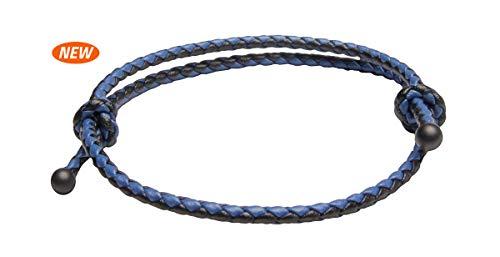 Ion Loop SlideKnot Leather Bracelet.New!! (Black/Blu, One-Size/Adjustable)