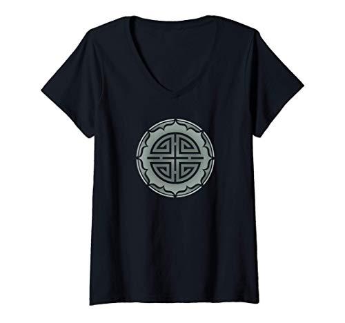 Damen Vier Segen, Glücksbringer, Chinesisch, Glück, China, Symbol T-Shirt mit V-Ausschnitt