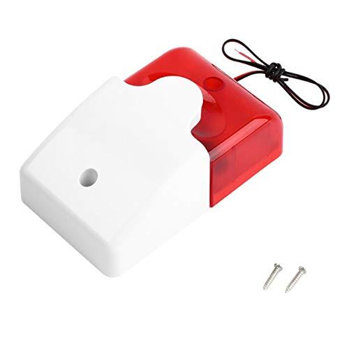Sairis - Sirena estroboscópica de 12 V con luz roja Intermitente, Sistema de Alarma de Seguridad para el hogar, 108 dB (Rojo y Blanco)