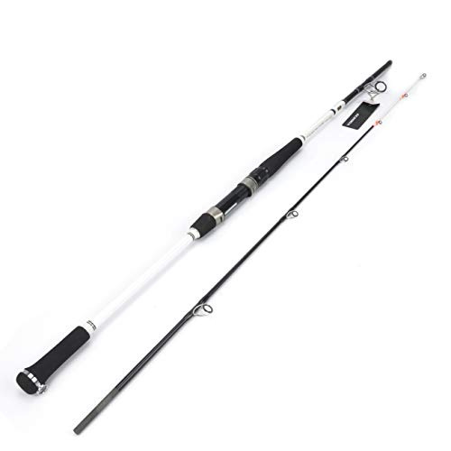 "Ecooda 2-Pieces Saltwater Offshore Spinning Carbon Fiber Boat Fishing Rod Portable Travel Fishing Rod with Pearlized Color Rod Tip (Length 7'6""Max Drag 44LB)"