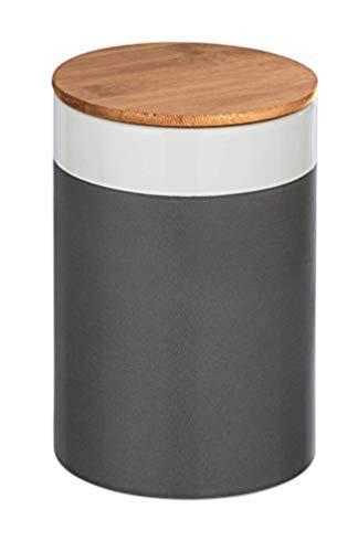 WENKO Aufbewahrungsdose Malta, 1,45 l, Frischhaltedose mit Bambusdeckel und Silikonring zur luftdichten & aromafrischen Aufbewahrung, aus hochwertiger Keramik, Ø 12,5 x 18,5 cm, Mehrfarbig