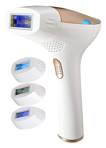 FAUSTINA 3-in-1 IPL (3 Lamps 1,500,000 Shots) Hair Removal, Skin Rejuvenation, and Acne Clearance Device - Completely Painless - Full Results After 3-7 Treatments - Free Pouch & Sunglasses.