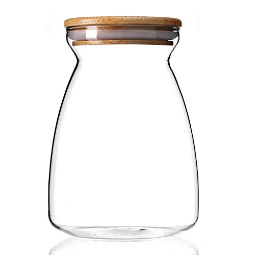 Kitchen Spices /& Many More Essexx Collection-Airtight Jar Glass Storage Canisters Containers For Coffee 1100 ML Freezer /& Heat Resistant. 37.29 FL OZ Light But Thick And Robust With Bamboo Lid
