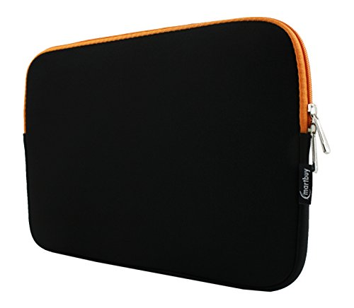 Emartbuy® Schwarz/Orange 12.5-14 Zoll Wasserdicht Neopren weicher Reißverschluss Kasten Abdeckung Sleeve with Orange Interior und Zip for ODYS Trendbook Next 14 Pro 14 Zoll HD Notebook