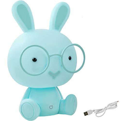MALATEC Kinderlampe Nachtlicht für Kinder mit Lichtintensitätsregelung Einschlafhilfe Hase /Teddybär 7881, Muster:Kaninchen