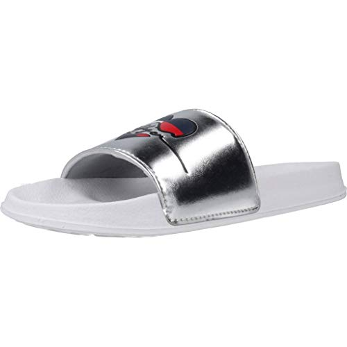 Tommy Hilfiger Damen Sandalen Sandaletten Pool Slide Argento Silber 40 EU