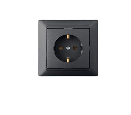 82×82×39.2 mm Steckdose für Unterputz - Wandsteckdose mit Rahmen IP20, Anthrazit, 1-fach, Kunststoff, mit Erdung