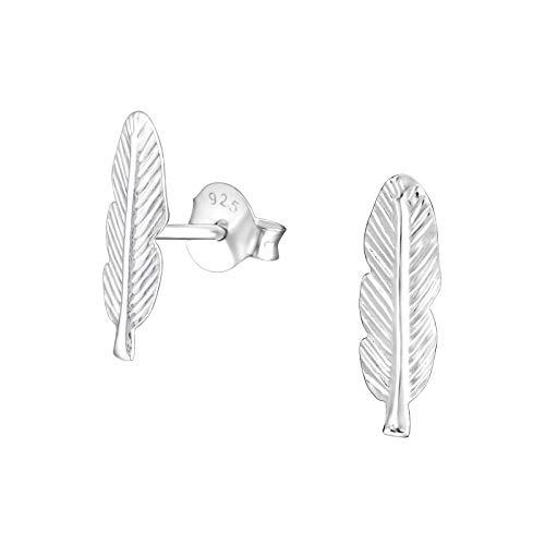 Laimons Damen-Ohrstecker Feder glanz Sterling Silber 925