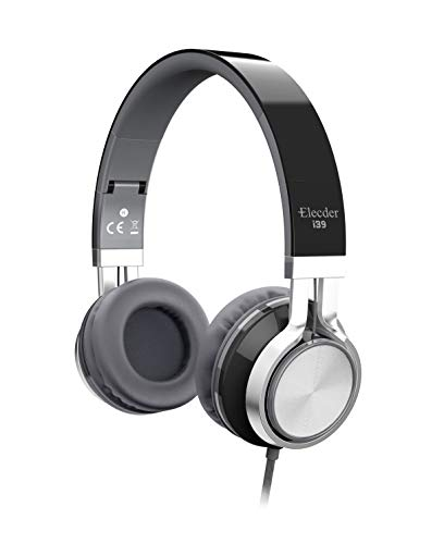 Elecder i39 Headphones with Microphone Foldable Lightweight Adjustable On Ear Headsets with 3.5mm Jack for iPad Cellphones Computer MP3/4 Kindle Airplane School Black/Gray