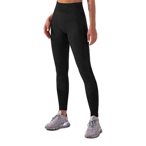 QTJY Pantalones sin Costuras de Yoga para Gimnasio para Mujeres Estiramiento de Cintura Alta Leggings de Fitness para Correr al Aire Libre Pantalones Deportivos A M