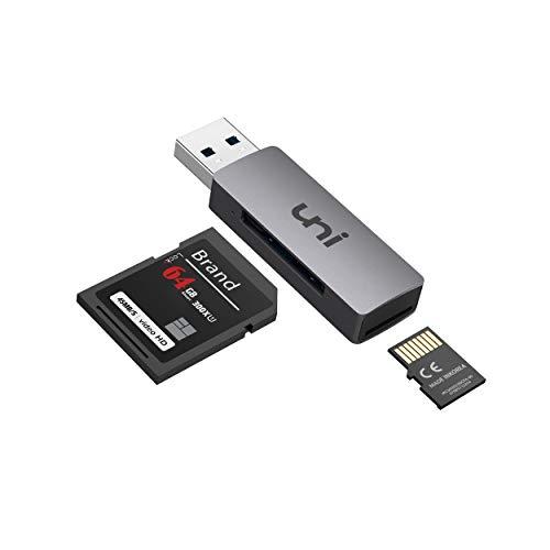 uni USB 3.0 zu SD/Micro SD Kartenleser 2-in-1, USB SD/TF-Speicherkartenleser, Externe Kartenlesegeräte, für SD, SDXC, SDHC, MMC, RS-MMC, Micro SDXC, Micro SD, Micro SDHC-Karte und UHS-I-Karten