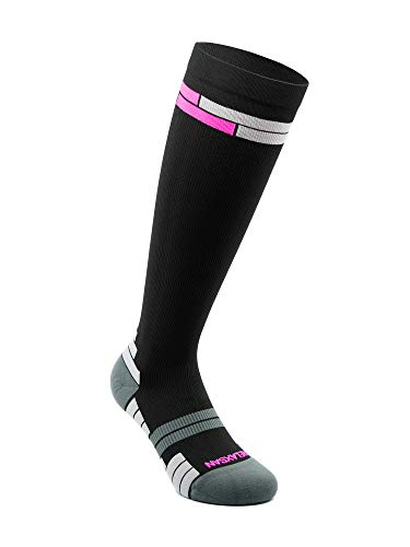 Relaxsan 800 Sport Socks (Nero/Fucsia, 3L) – Calze sportive compressione graduata Fibra Dryarn massime prestazioni