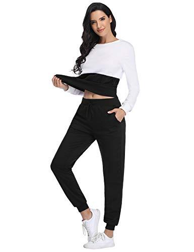 Irevial Damen Zweiteiler Jogginganzug Reißverschluss Kapuzen Trainingsanzug Set Herbst Winter Fitness Jogging Tennis Laufen Yoga Jacke und Hosen Anzug Set