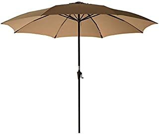 C-Hopetree 11ft Outside Patio Umbrella Large Market Style with Aluminum Pole for Backyard Balcony Table Deck or Pool Shade, Beige