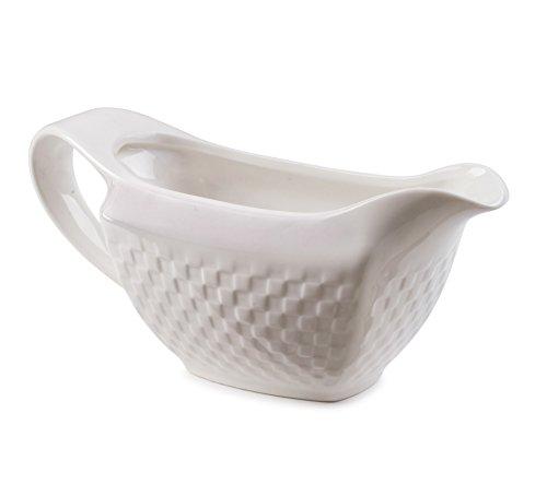 ROSCHER Basketweave Gravy Boat (White Porcelain) Smooth Pour Spout, Ergonomic Handle   Versatile Kitchen & Serving Use   Brown, Country, Turkey, Chicken Flavors