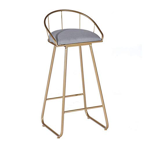 AYU Bar Stools Modern, Contemporary Bar Height Chair, Gray Velvet Upholstered Padded Seat, Pub Bistro Kitchen Dining Side Chair, Barstools with Gold Metal Legs
