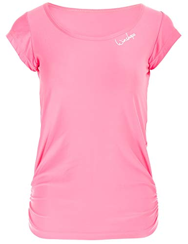 WINSHAPE Damen Super leichtes Functional Kurzarmshirt AET106, Slim Style Fitness Yoga Pilates Tanktop, neon-pink, M