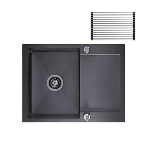 CECIPA FJ603B I Küchenspüle Edelstahl 60x45CM, Spülbecken mit Abtropffläche, Reversibele Spüle inkl. Excenter-Ablauf, Abstropfgestell, Über- und Ablaufgarnitur, Siphon I Anthrazitgrau