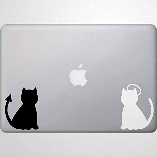 Calcomanía de vinilo para ordenador portátil, diseño de ángel y diablo, diseño de gato